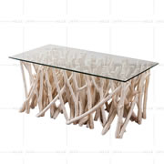 Glass table with branch base