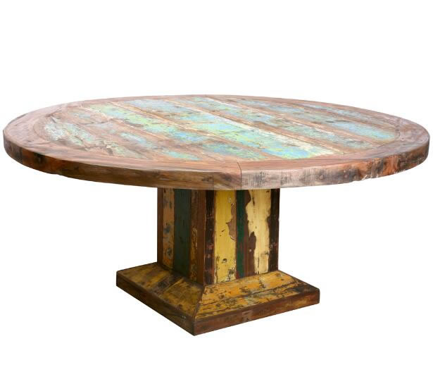 Round table – recycled boat timber,Solid Wooden Furniture