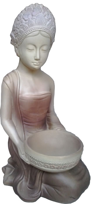 Bali girl with a bowl,Buddha Statues