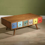 Coffee table with apothecary drawers