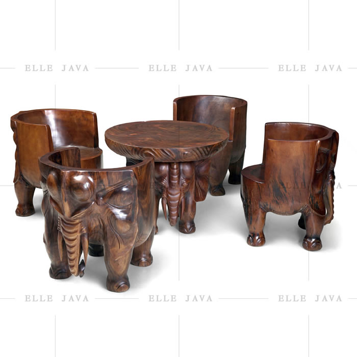 Elephant table with four elephant chairs,Teak Furniture